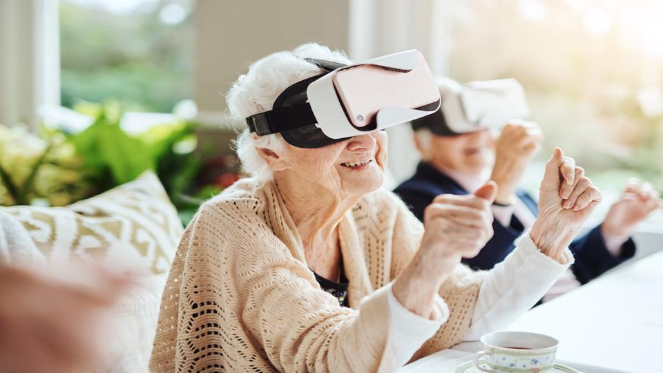 elderly playing with vr