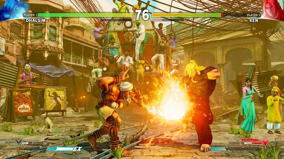 Dhalsim fights Ken in Street Fighter V.