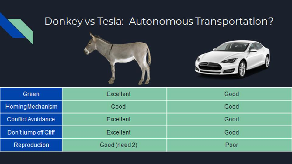 Compares Tesla to Donkey in terms of green, homing mechanism, conflict avoidance, and other factors.