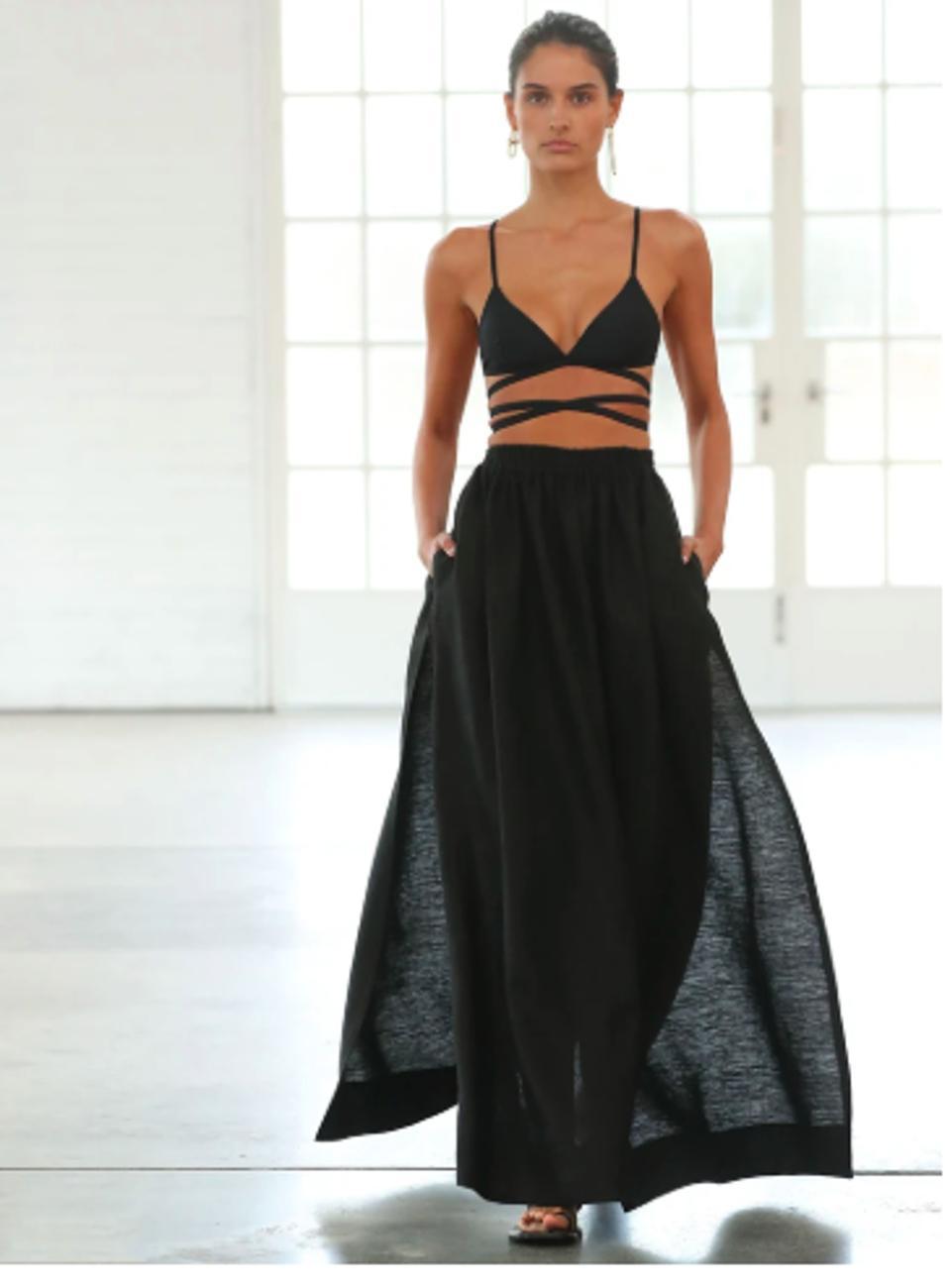Black triangle wrap bikini top and full skirt by Matteau
