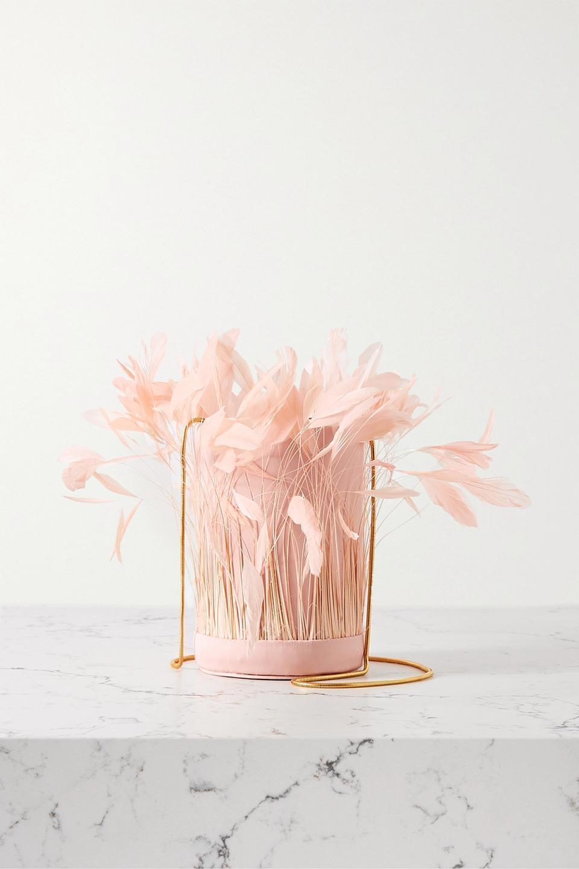 Blush L'Envol feather bucket bag by Vanina