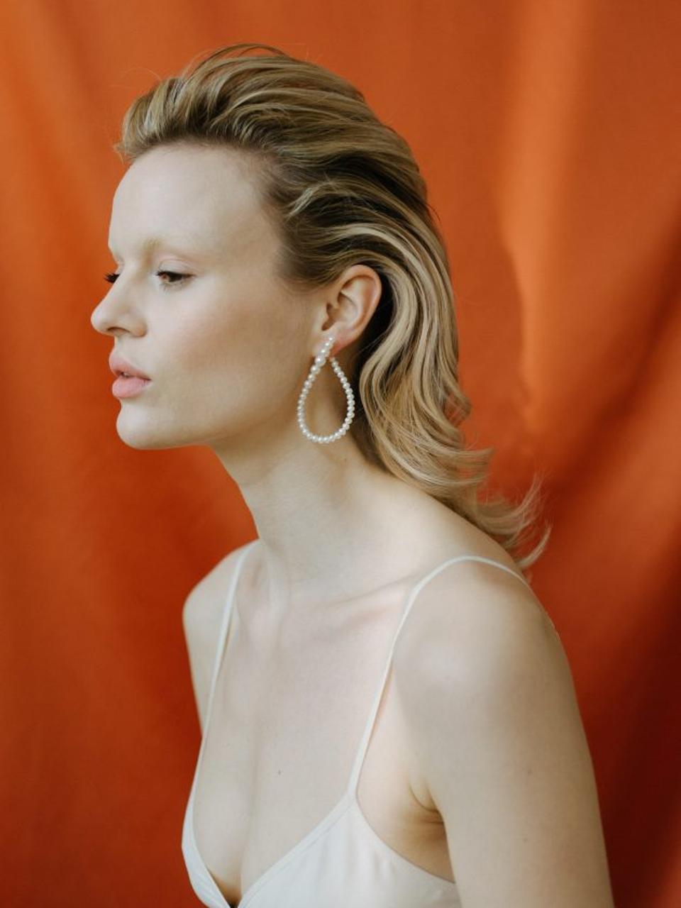 Saska Diez Fresh Water Pearl Earrings on Gold