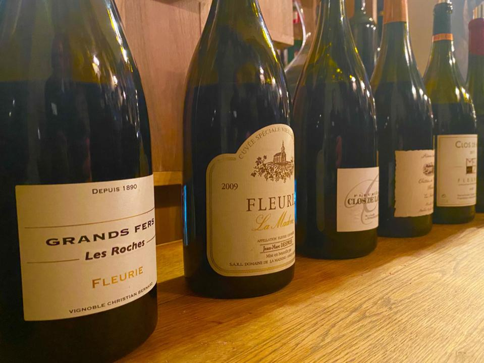 Tasting from magnums of Fleurie wines in Paris