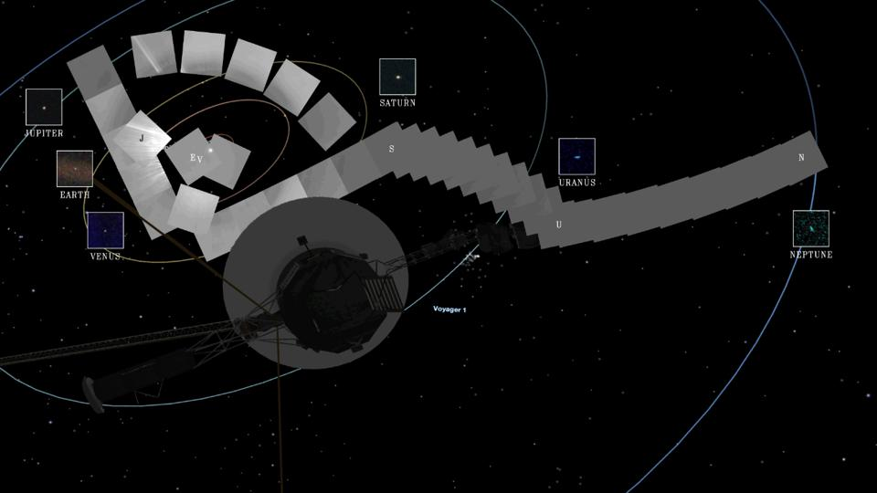 A mosaic of photos laid out against a map of the solar system with a photo of Voyager 1 in the foreground.