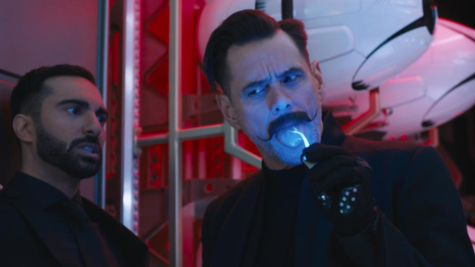 Lee Majdoub and Jim Carrey in SONIC THE HEDGEHOG
