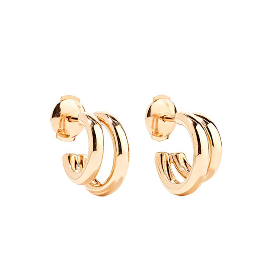 Double Circle Earrings Bright Colors Interlock Drops Contemporary Modern Design Organic Shapes Abstract Jewelry Gold And Color Artisan Trend