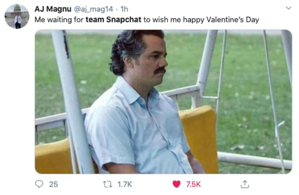 A screenshot of one popular no-Valentine's-Day-from-Team-Snapchat tweet