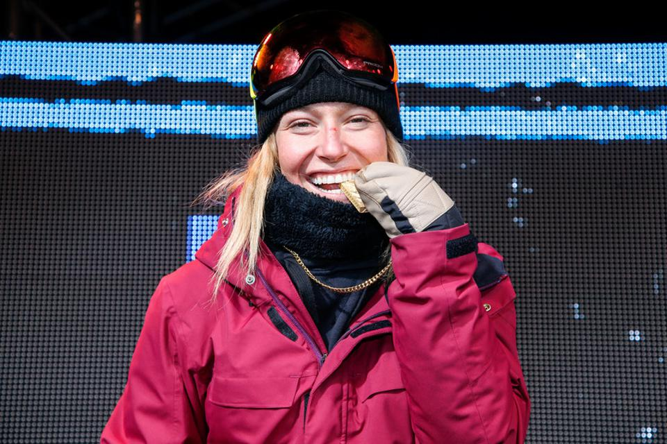 Snowboarder Jamie Anderson at the medal ceremony for Slopestyle at X Games Aspen 2018
