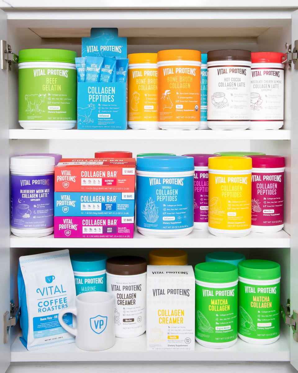 Assortment of Vital Proteins products.