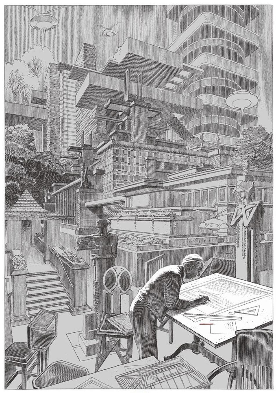 François Schuiten, ″Hommage to Frank Lloyd Wright″