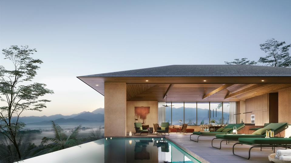 Outdoor terraces, infinity pools and gardens