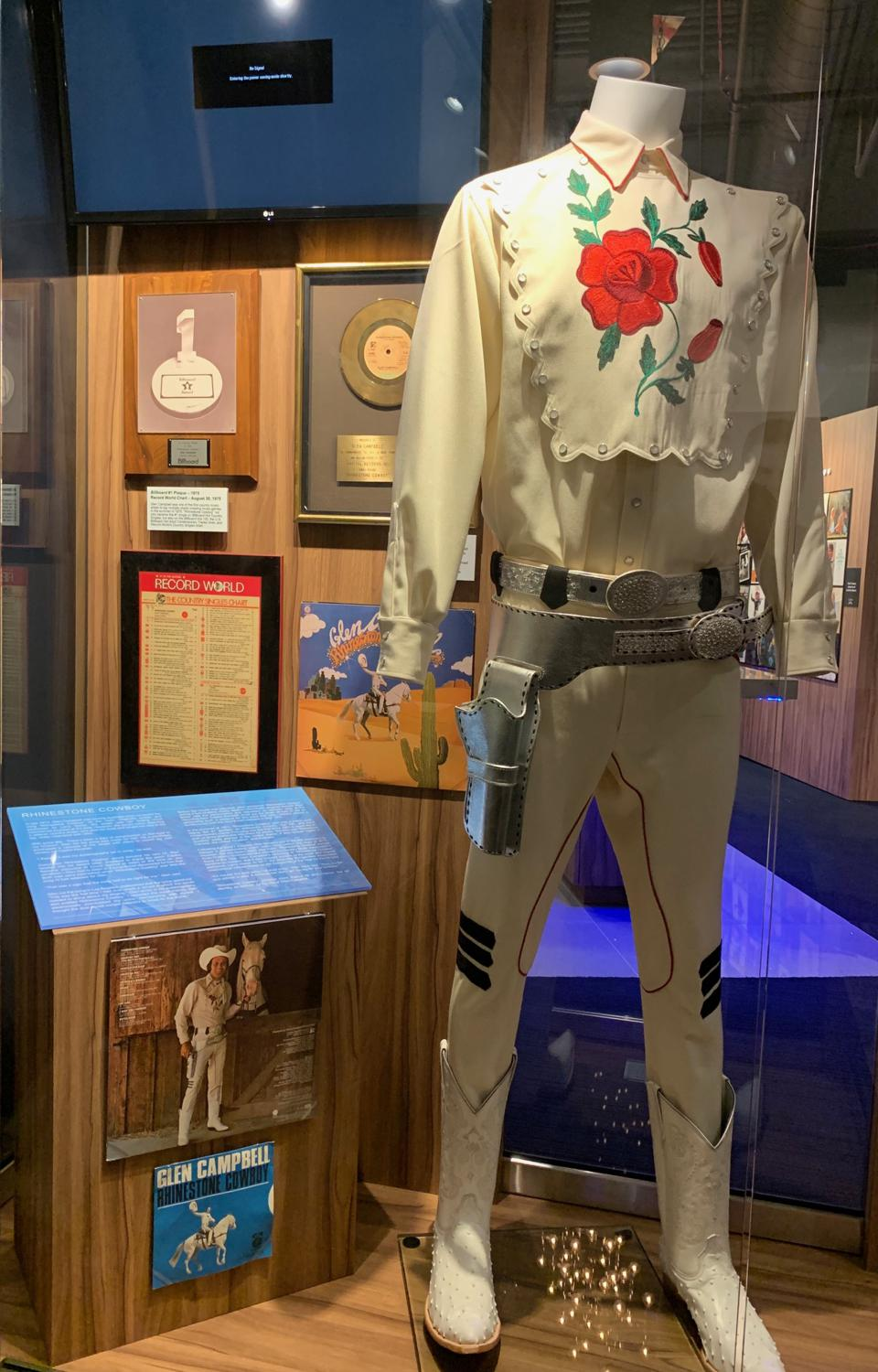 ″Rhinestone Cowboy″ suit on display at the Glen Campbell Museum in Nashville.