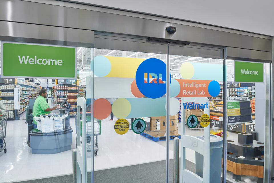 A photo at the entrance of Walmart's Intelligent Retail Lab