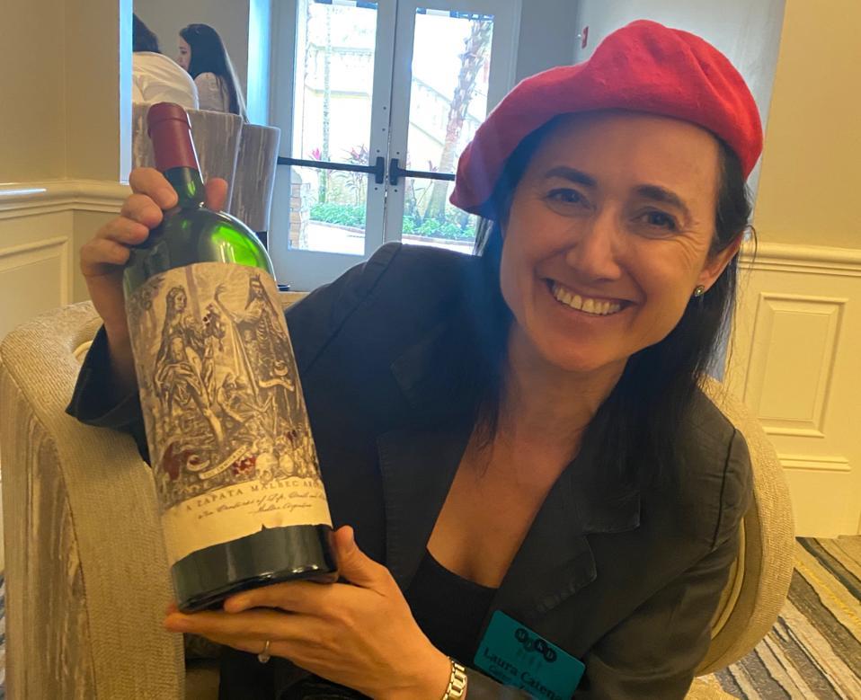 Laura Catena and magnum of Catena Zapata Malbec