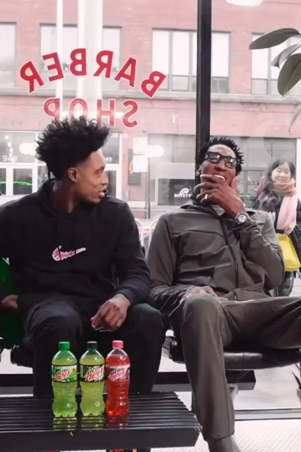 Collin Sexton chats with Scottie Pippen at the Blind Barber in Chicago's Fulton Market on Saturday, February 15, 20202 as part of NBA All-Star weekend.