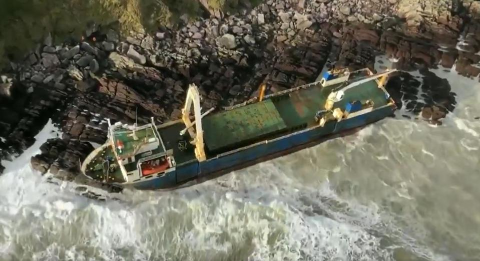 The Tanzanian ship Alta stuck on the rocky shore of Ireland.