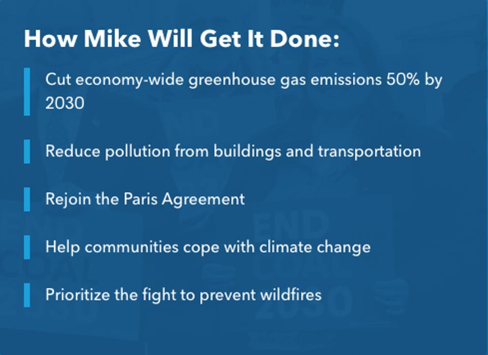 Michael Bloomberg's climate agenda, according to his campaign website on February 17, 2020