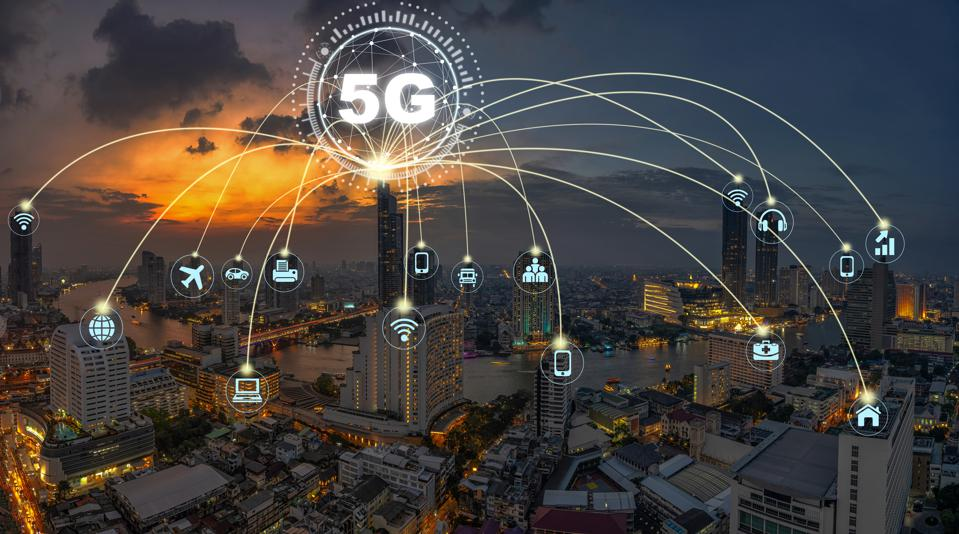 5G technology with Computer Network connection line between building over Panorama of Bangkok cityscape river side Modern building at Fantastic twilight time, Connectivity and global networks concept
