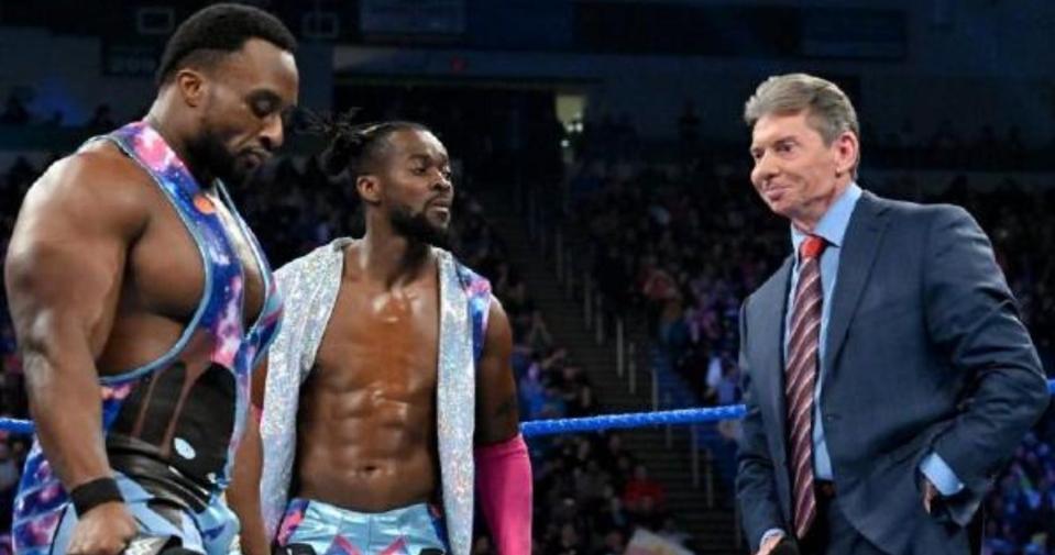WWE stars Kofi Kingston, Big E and Vince McMahon