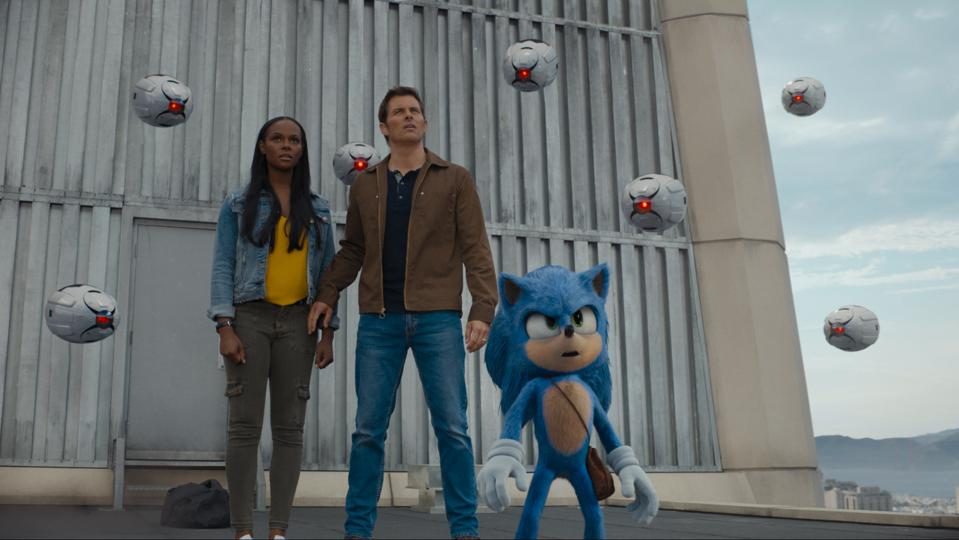 Tika Sumpter, James Marsden, and Sonic (Ben Schwartz) in SONIC THE HEDGEHOG from Paramount Pictures and Sega. Photo Credit: Courtesy Paramount Pictures and Sega of America.
