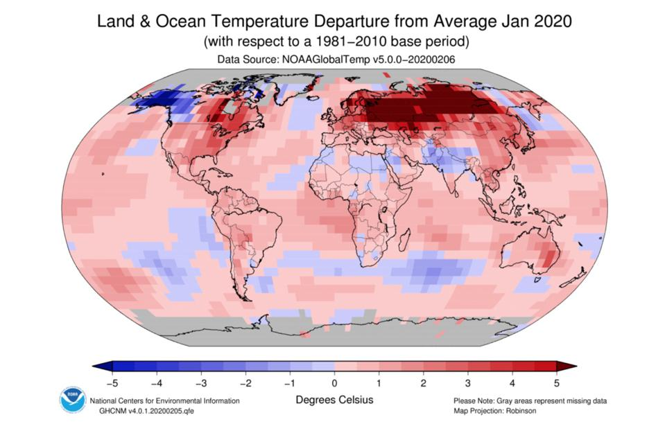 Land and ocean temperature in Jan 2020 compared to average