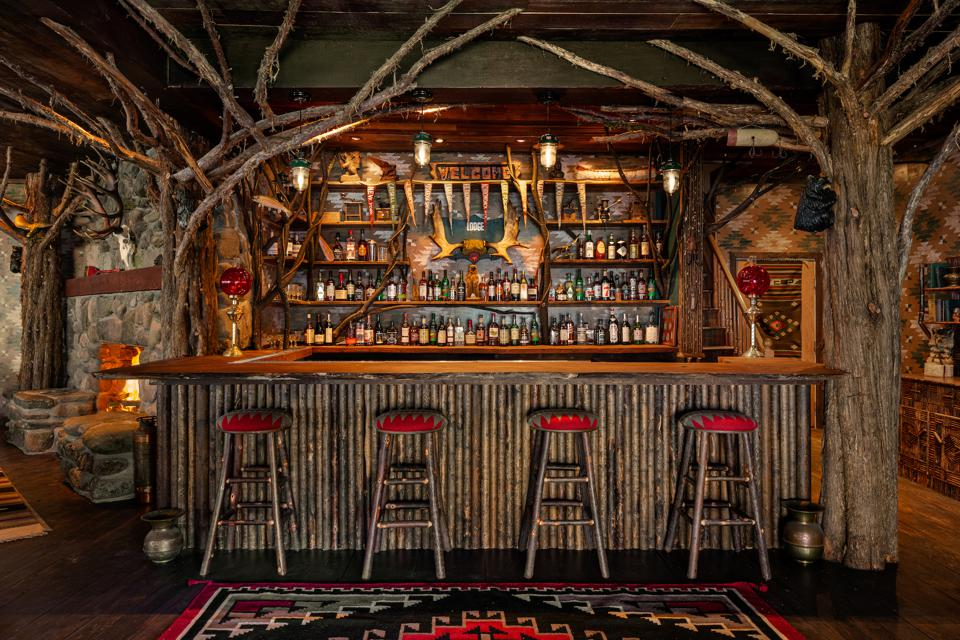 The bar at the Urban Cowboy Lodge in The Catskills, New York