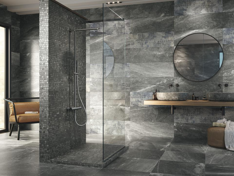 Concrete and stone-look tile