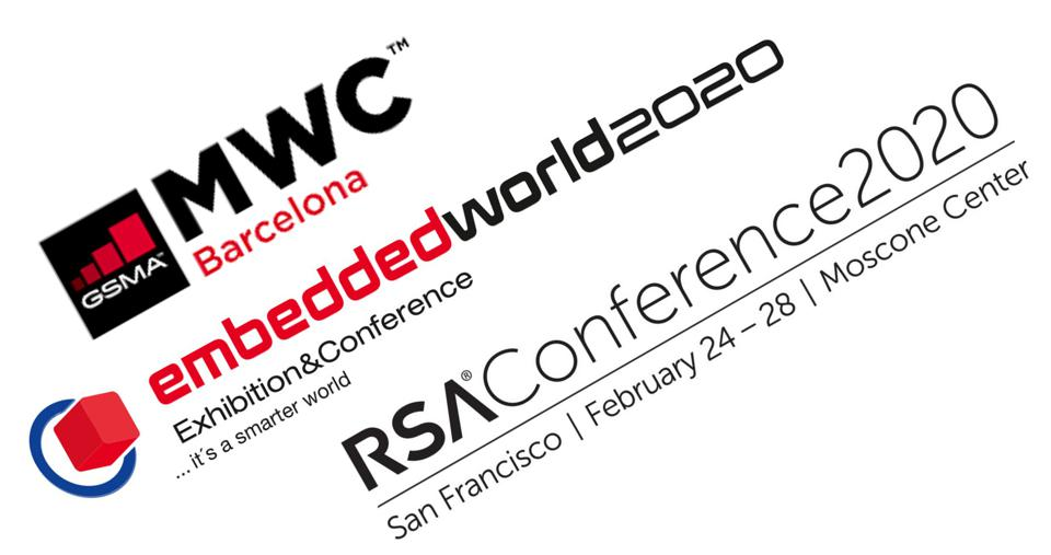 Logos of the MWC, Embedded World, and RSA conferences