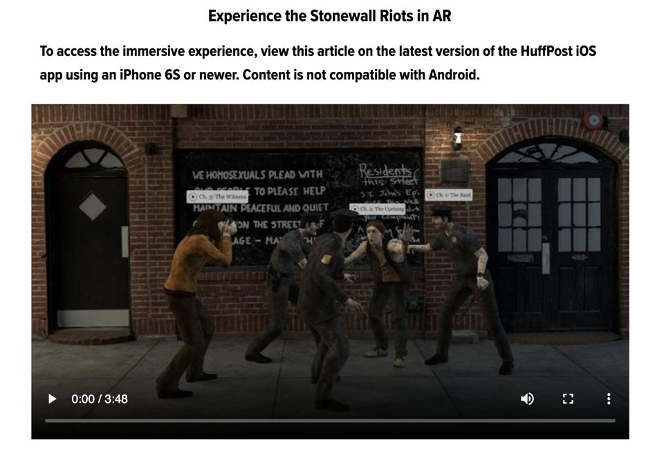 The HuffPost app now includes an AR integration