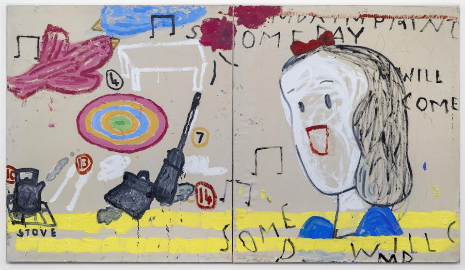Painting by British Artist Rose Wylie currently on show at The Gallery at Windsor, Vero Beach, Florida