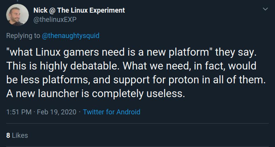 Popular YouTuber The Linux Experiment is also critical