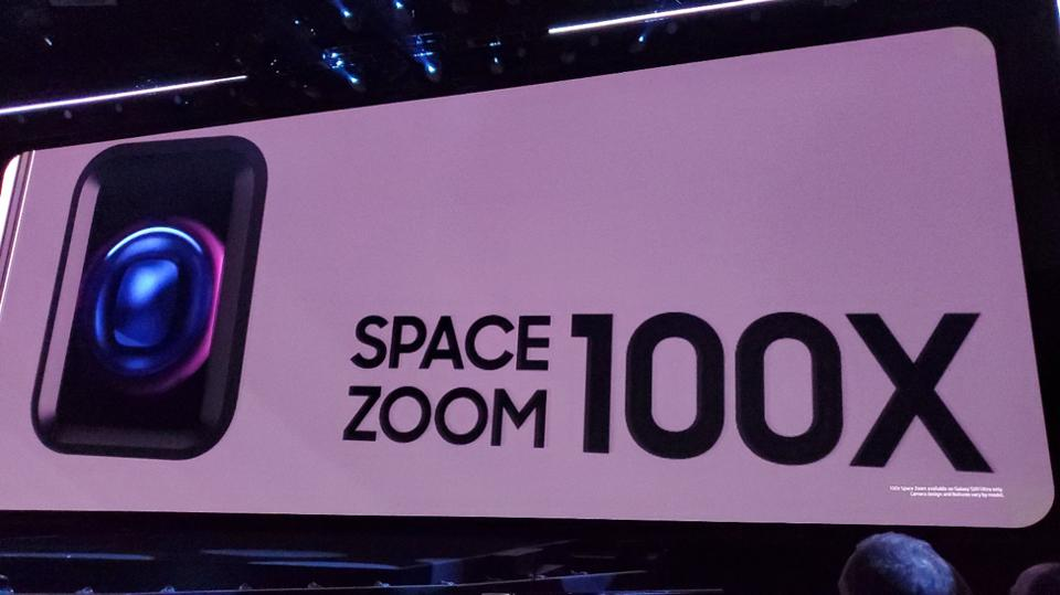 An advertisement for Samsung's new 100X Space Zoom capability.