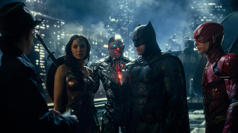 J.K. Simmons, Gal Gadot, Ray Fisher, Ben Affleck, and Ezra Miller star in Warner's ″Justice League.″
