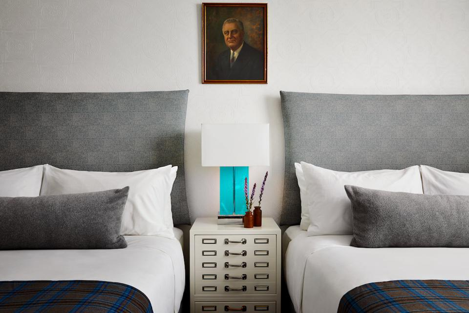 A rendering of a double room at Graduate Roosevelt Island.