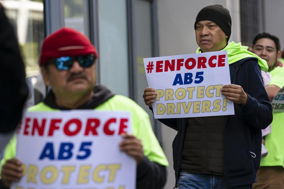 Uber and Lyft Drivers Protest in Los Angeles, USA