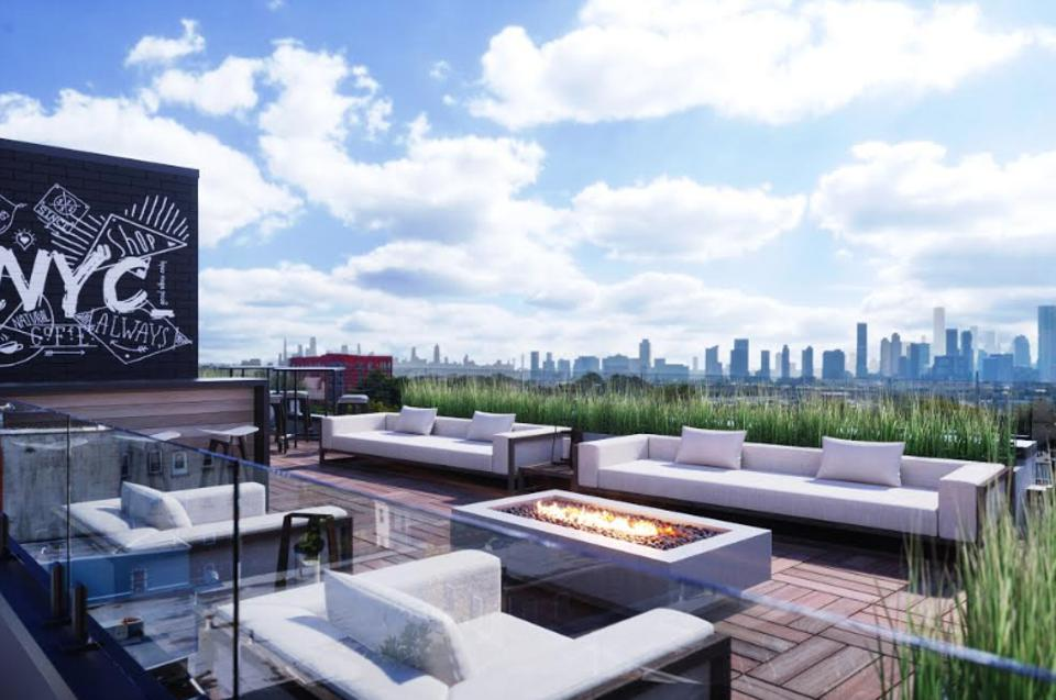 The roof terrace at MERCER in Jersey City, NYC.