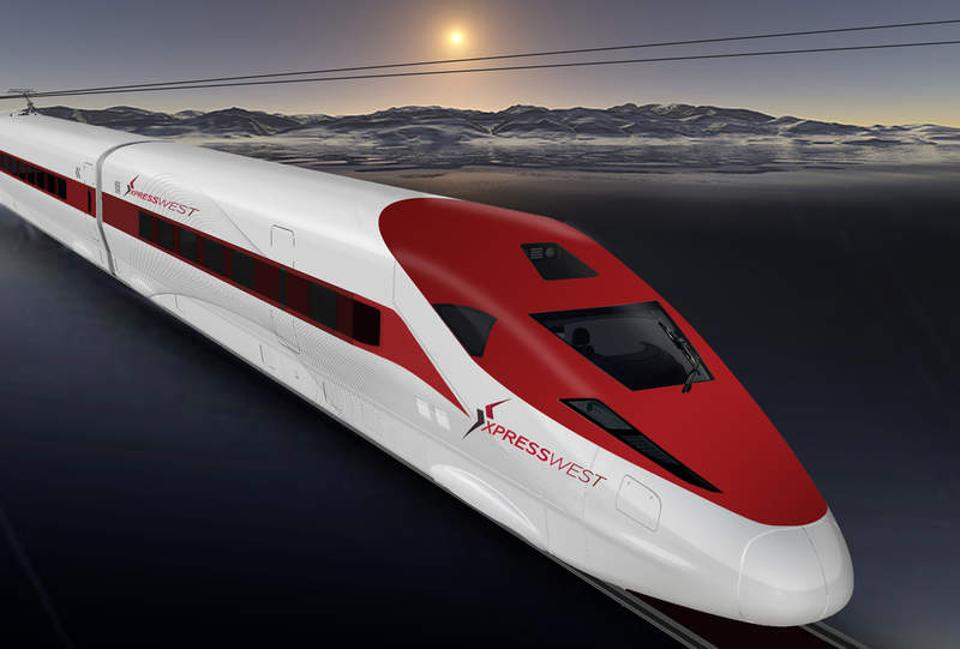 A rendering of an XpressWest train desert between Victorville and Las Vegas