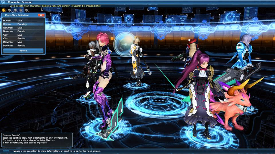 The PSO2 character creation screen (and WOW is the character creator deep!)