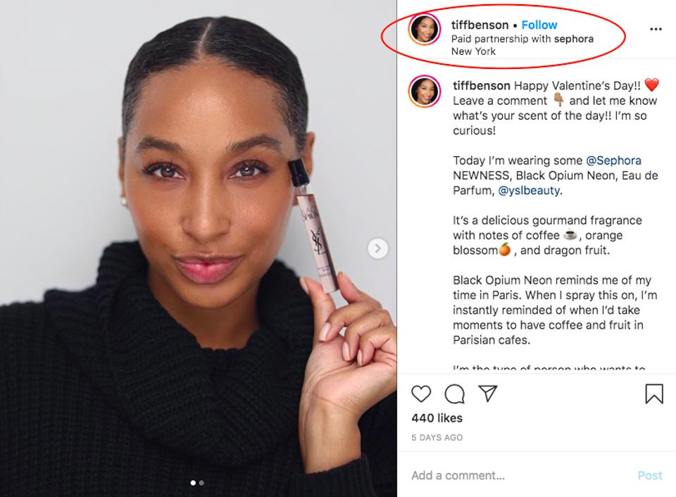 Screenshot of beauty and fragrance influencer Tiff Benson's branded Instagram post, in paid partnership with Sephora.