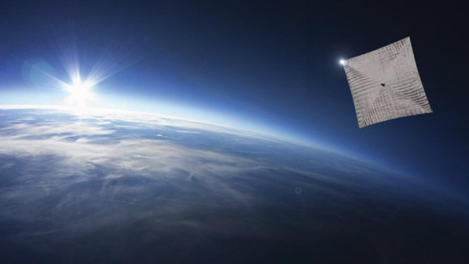 An illustration of Lightsail 2 being tested above Earth.