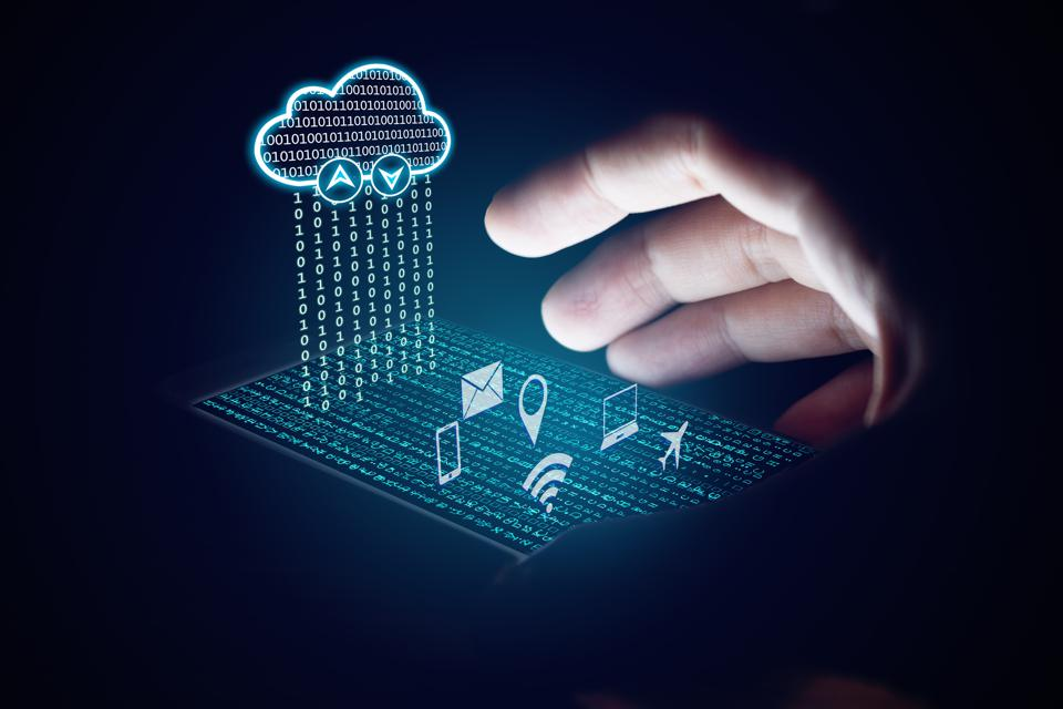 Cloud computing concept, Woman using smartphone and protection.