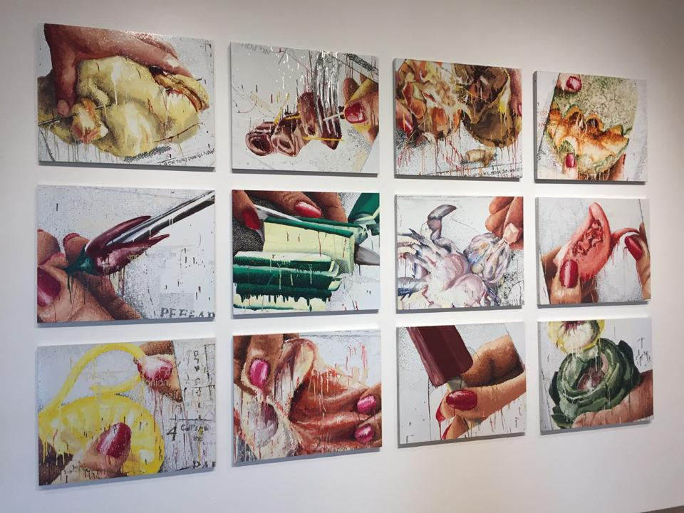 Marilyn Minter, 12 works from ″100 Food Porn″ (1989-1990). Enamel on metal. On view at Savannah College of Art and Design Museum of Art.
