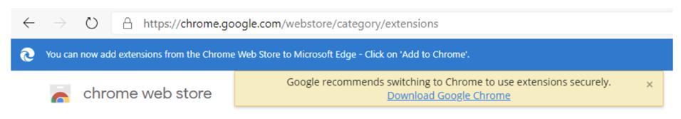 Chrome warning