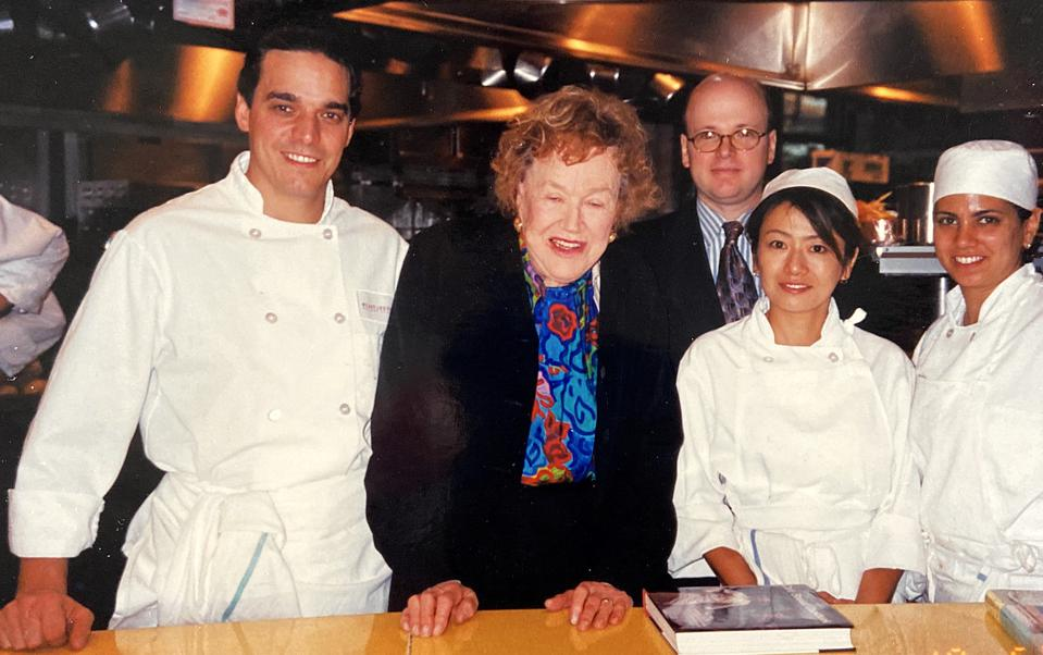Bruno Bertin, left, as a young chef with Julia Child.
