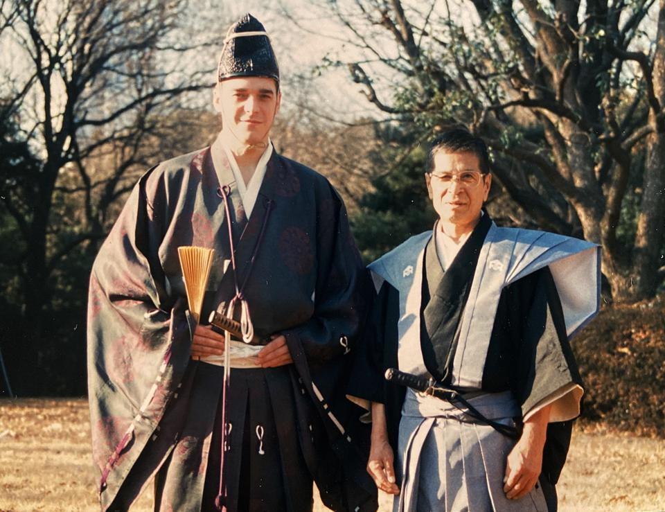 Bruno Bertin in Japan with his Kudo sensei.