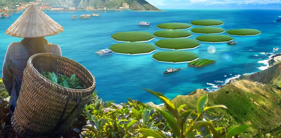 Floating ocean rice farms in Asia
