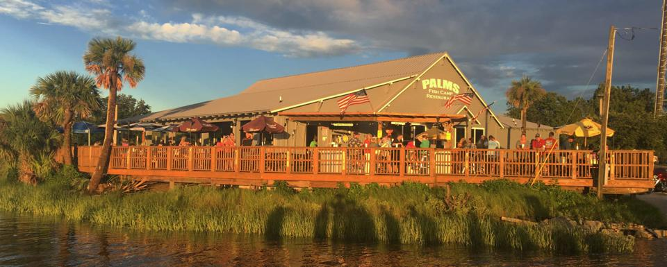 Palms Fish Camp, serving locally-caught shrimp and fish, introduces you to backwater life in Florida.