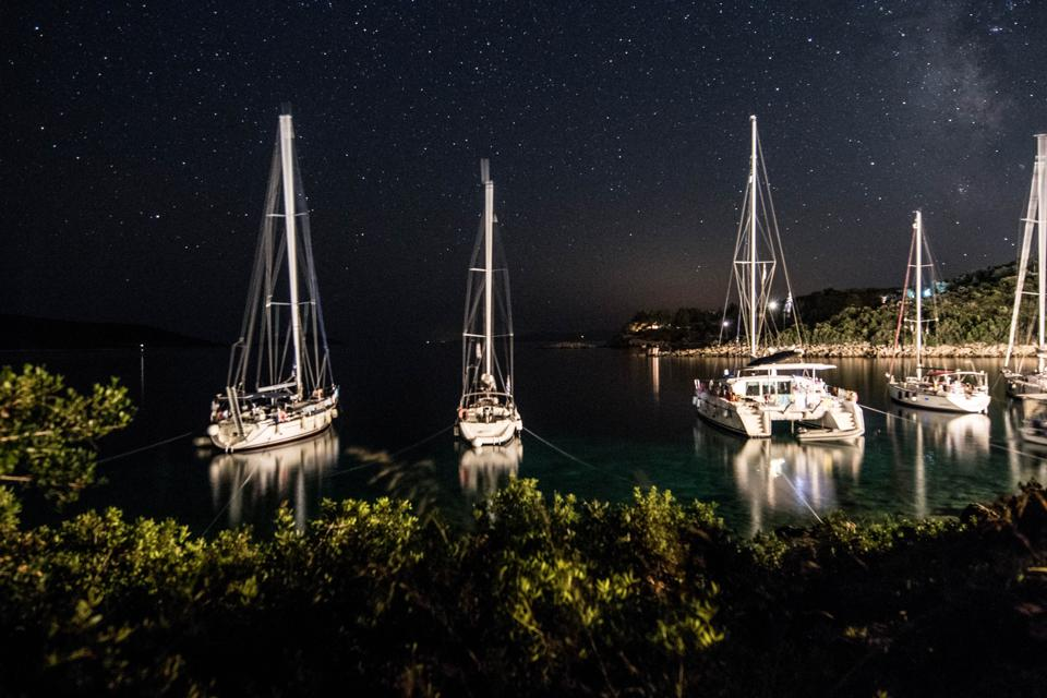 Night time near one of the Greek Islands for guests.
