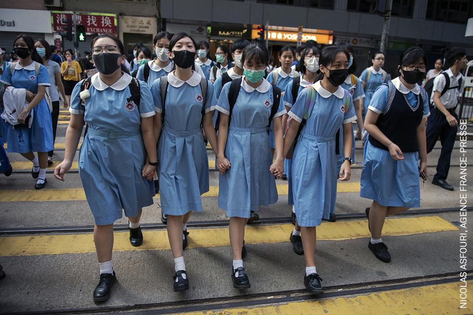 Students in Hong Kong after participating in a human-chain rally,