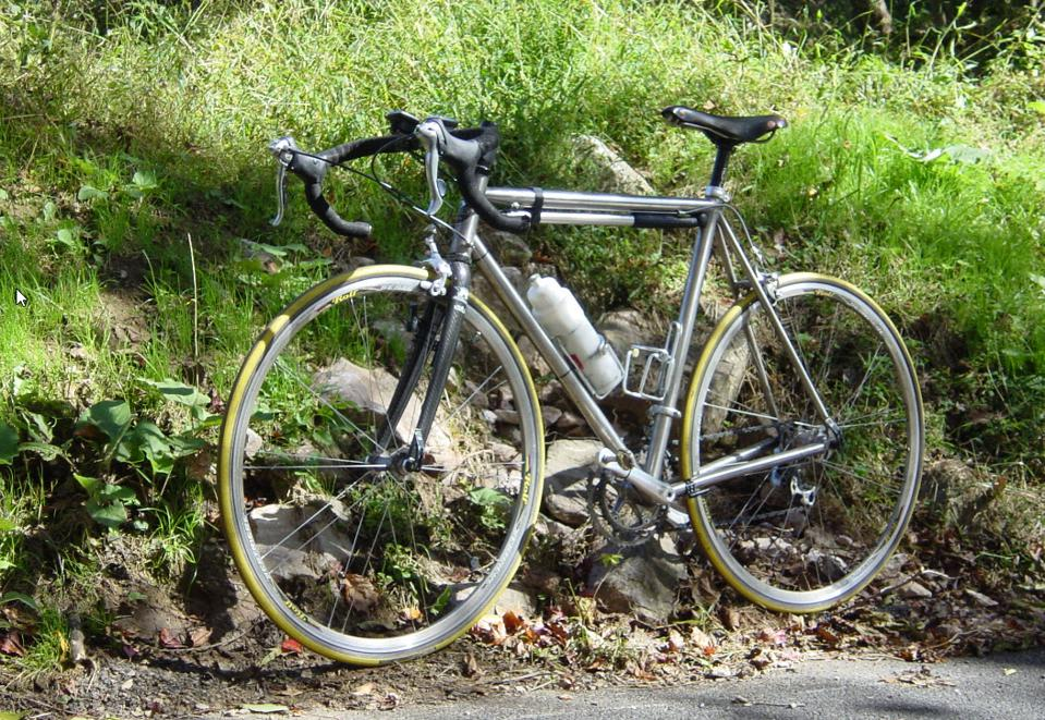 Titanium frame bike standing up on the side of the road.